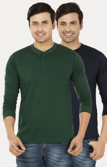 Weardo   Green and Navy Blue Solid T-Shirt - Pack of 2