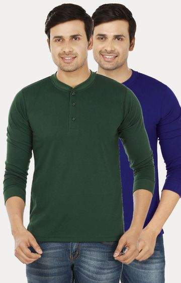 Weardo   Green and Royal Blue Solid T-Shirt - Pack of 2