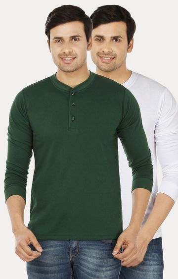 Weardo   Green and White Solid T-Shirt - Pack of 2