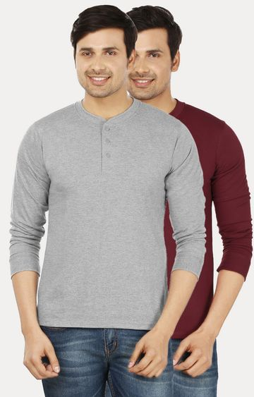 Weardo | Grey and Maroon Solid T-Shirt - Pack of 2