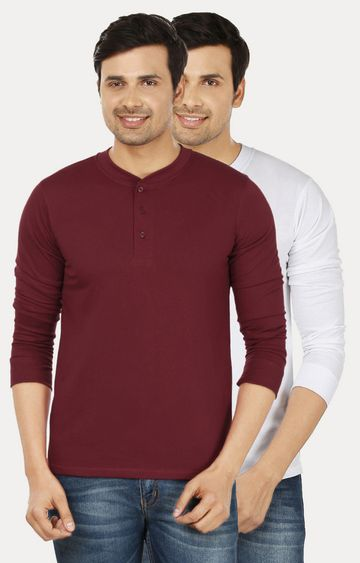 Weardo | Maroon and White Solid T-Shirt - Pack of 2