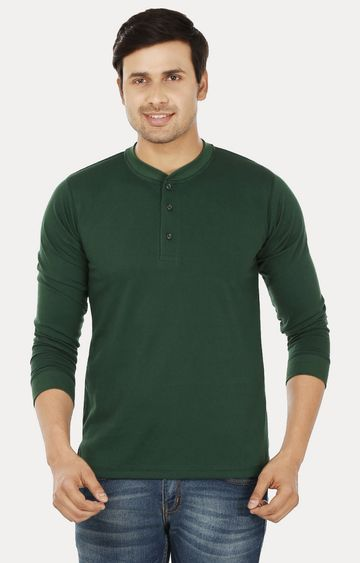 Weardo | Bottle Green Solid T-Shirt
