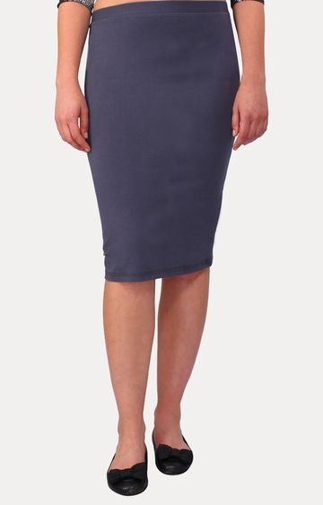 Smarty Pants | Grey Solid Pencil Skirt