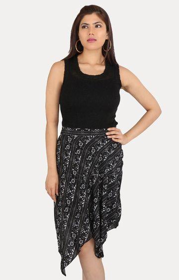 Smarty Pants   Black Printed Asymmetric Skirt