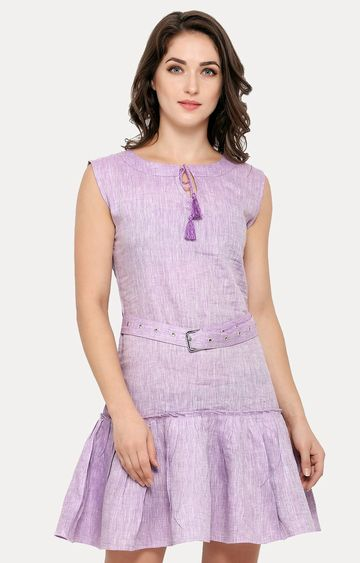 Smarty Pants | Purple Solid Peplum Dress