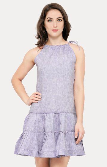 Smarty Pants | Lavender Solid Peplum Dress
