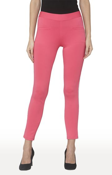 Smarty Pants | Pink Solid Cotton Jeggings