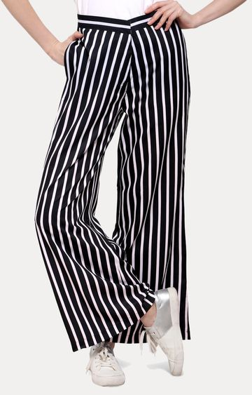 Smarty Pants   Black and White Striped Palazzos