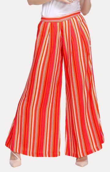 Smarty Pants   Orange Striped Palazzos