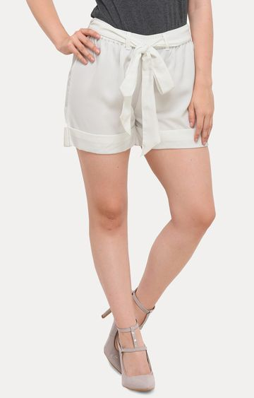 Smarty Pants | White Solid Shorts
