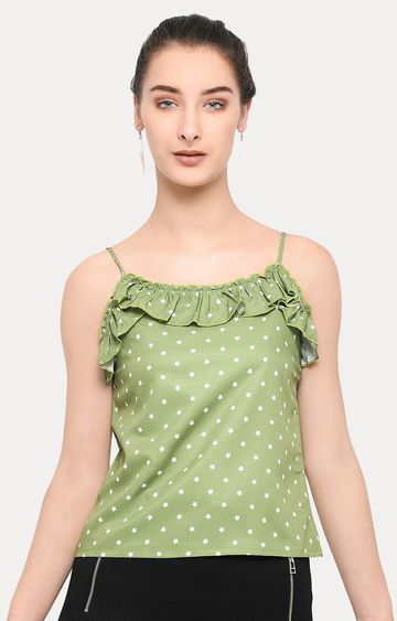 Smarty Pants | Olive Printed Strappy Top