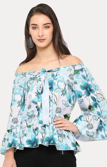 Smarty Pants   Blue Floral Off Shoulder Top