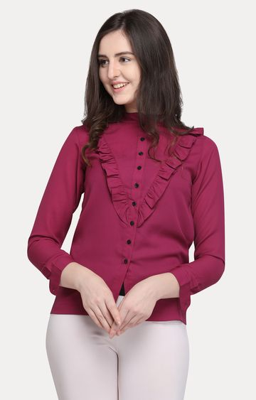 Smarty Pants | Wine Solid Casual Shirt