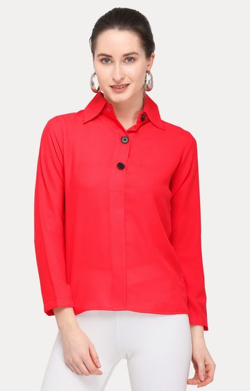 Smarty Pants | Red Solid Formal Shirt