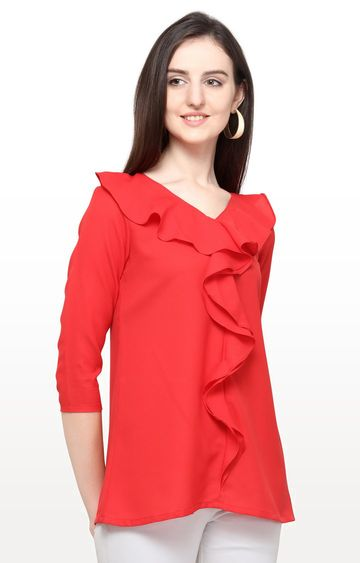 Smarty Pants | Cherry Red Solid Top