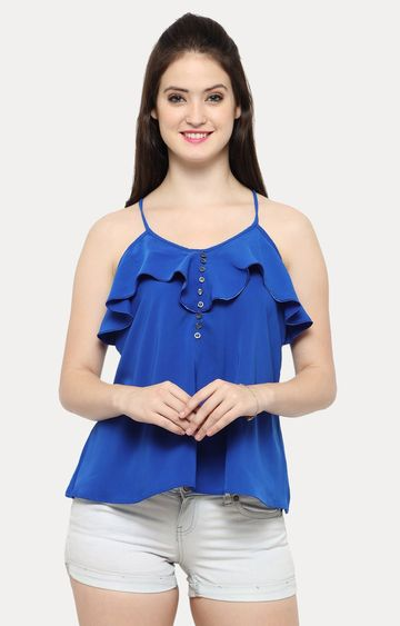 Smarty Pants   Blue Solid Strappy Ruffle Top