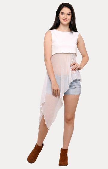 Smarty Pants   White Solid Maxi Top