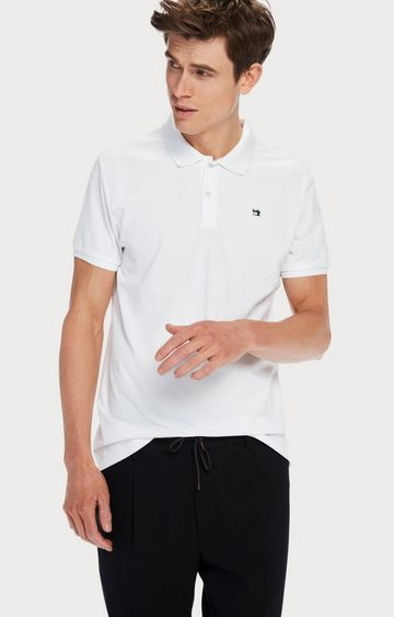 Scotch & Soda | White Solid Polo T-Shirt