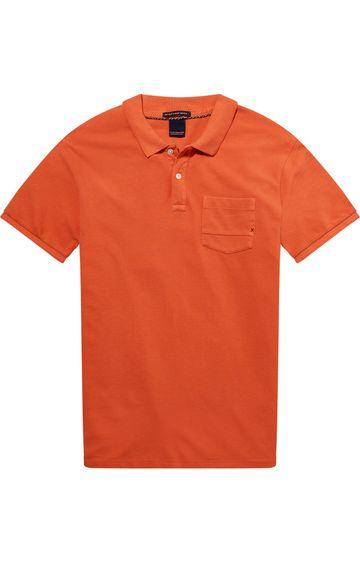 Scotch & Soda | Ams Blauw Garment Dyed Polo With Xxx Pocket