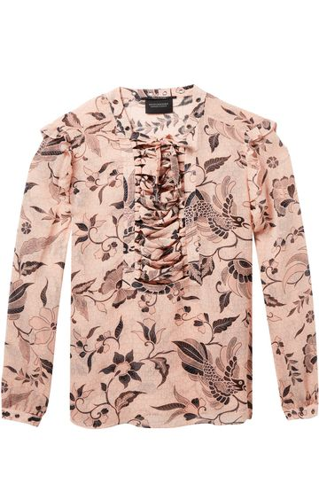 Scotch & Soda | SHEER PRINTED TOP WITH LACE UP AND EYELE