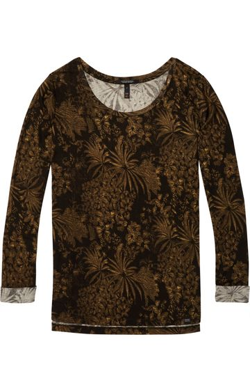 Scotch & Soda | BASIC RELAXED FIT LONG SLEEVE TOP IN STR