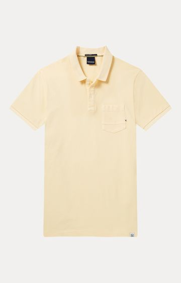 Scotch & Soda | Light Yellow Solid Polo T-Shirt