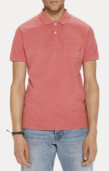 Scotch & Soda | Coral Solid Polo T-Shirt