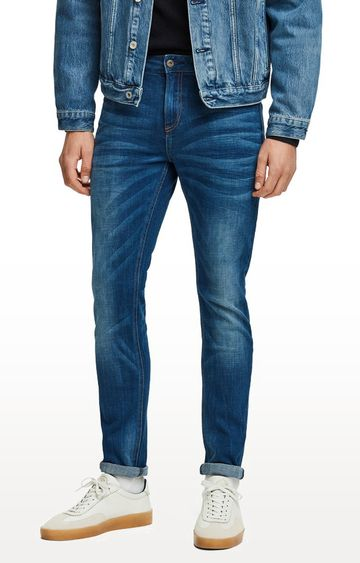 Scotch & Soda | Blue Solid Regular Fit Jeans