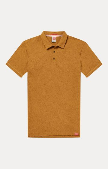 Scotch & Soda | Light Brown Melange Polo T-Shirt