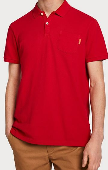 Scotch & Soda | Red Solid Polo T-Shirt