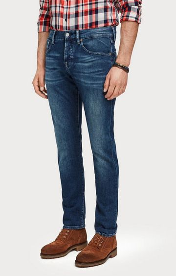 Scotch & Soda | Blue Solid Tapered Jeans
