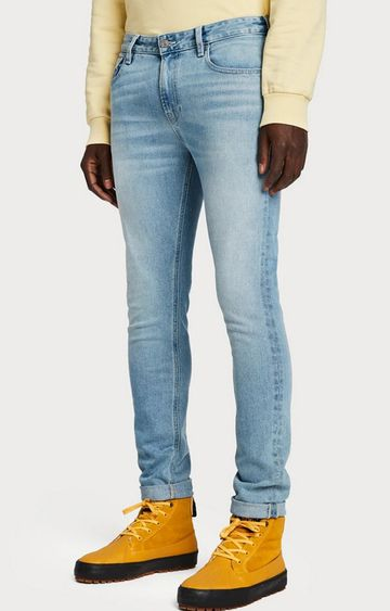 Scotch & Soda | Light Blue Solid Tapered Jeans