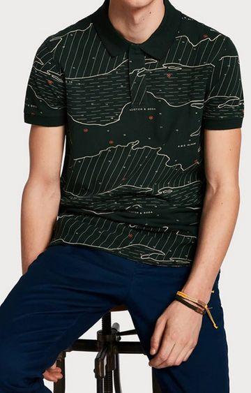 Scotch & Soda | Green Printed Polo T-Shirt