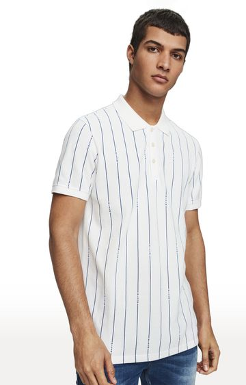 Scotch & Soda | White Striped Polo T-Shirt