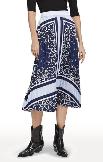 Scotch & Soda | Blue Printed Pleated Plisse Skirt