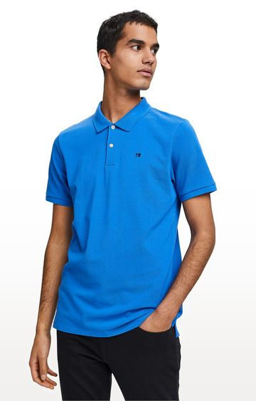 Scotch & Soda | Royal Blue Solid Regular Fit Polo T-Shirt
