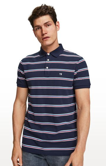 Scotch & Soda | Navy Striped Regular Fit Polo T-Shirt