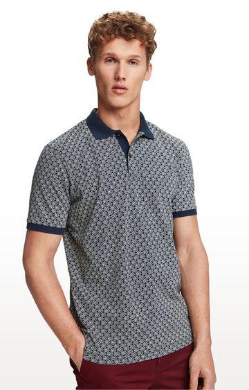 Scotch & Soda | Blue Printed Polo T-Shirt