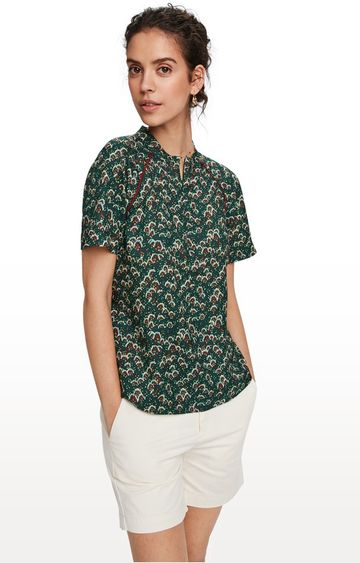 Scotch & Soda   Printed top with piping detail