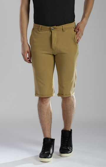 883 Police | Tan Solid Shorts
