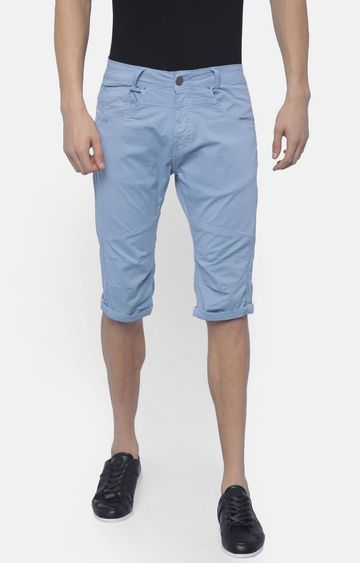 883 Police | Blue Solid Shorts