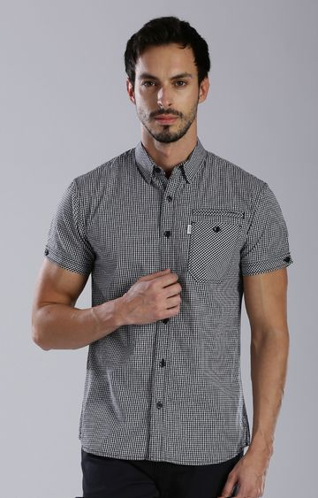 883 Police | Black Checked Casual Shirt