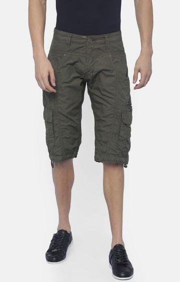 883 Police | Olive Solid Shorts