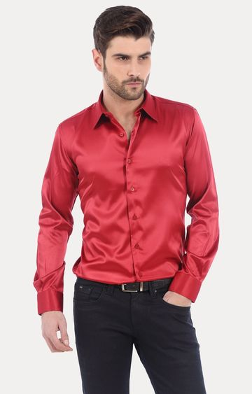 Basics | Red Solid Formal Shirt
