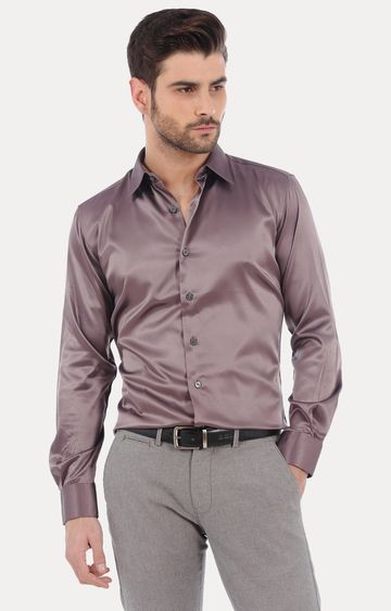 Basics   Brown Solid Formal Shirt