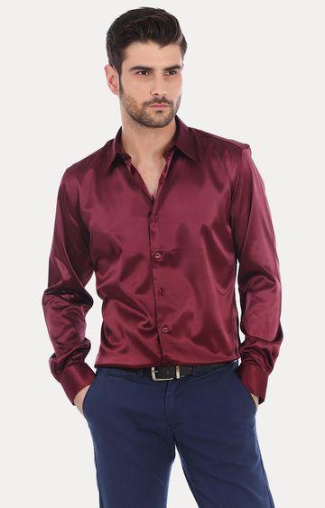 Basics   Wine Solid Formal Shirt