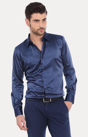 Basics   Navy Solid Formal Shirt