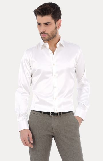 Basics   Ecru Solid Formal Shirt