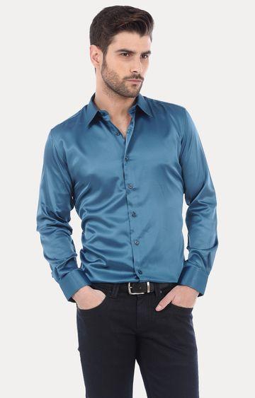 Basics   Teal Solid Formal Shirt