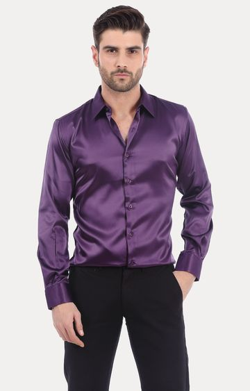 Basics   Purple Solid Formal Shirt